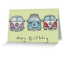 Three VW Camper Vans Greeting Card