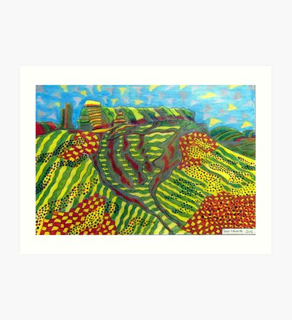 378 - MOUNTAIN ABSTRACT - DAVE EDWARDS - COLOURED PENCILS - 2013 Art Print