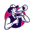 Auctioneer Cowboy With Gavel And Bullhorn by retrovectors