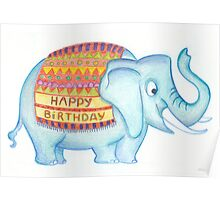 Birthday elephant Poster