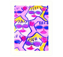 Pink and Blue Sunglasses Rock! Art Print