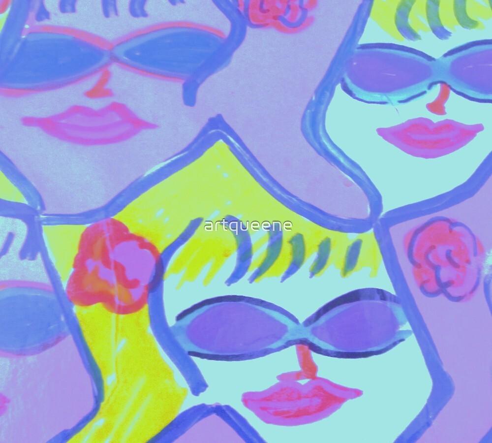 Cool Ladies in Purple Sunglasses! by artqueene