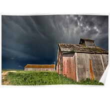 Abandoned Farm with storm clouds in the Canadian Prairie Poster