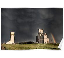 Prairie Grain Elevator in Saskatchewan Canada with storm clouds Poster