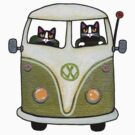 Two Cats in a Green Bus by Ryan Conners