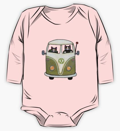 Two Cats in a Green Bus One Piece - Long Sleeve