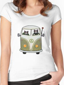 Two Cats in a Green Bus Women's Fitted Scoop T-Shirt