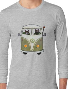 Two Cats in a Green Bus Long Sleeve T-Shirt