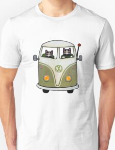 Two Cats in a Green Bus T-Shirt