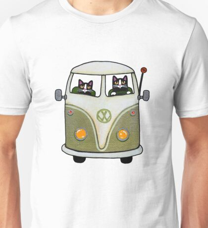 Two Cats in a Green Bus Unisex T-Shirt