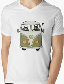 Two Cats in a Green Bus Mens V-Neck T-Shirt