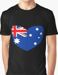 Heart Shaped Australian Flag Graphic T-Shirt