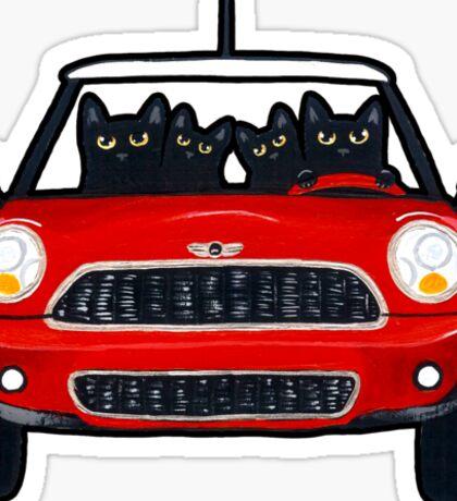 Cats in a Red Mini Sticker