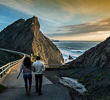 Strolling to Point Bonita at Sunset by James Watkins