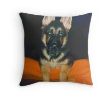 A German Shepherd Puppy named Target Throw Pillow