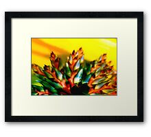 Green and orange flames whipping at the sky Framed Print