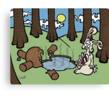 Teddy Bear And Bunny - Acid Trip Canvas Print
