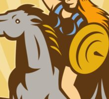 Valkyrie Riding Horse Retro Sticker