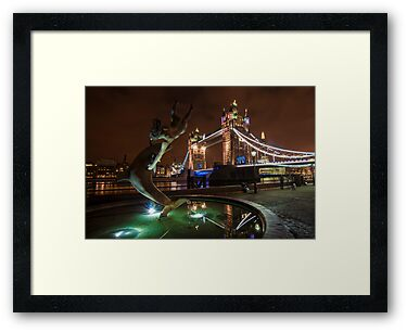 Dolphin and Lady Fountain Tower Bridge, London. by DonDavisUK