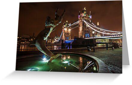Dolphin and Lady Fountain Tower Bridge, London. by DonDavisUK
