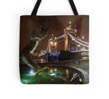 Dolphin and Lady Fountain Tower Bridge, London. Tote Bag