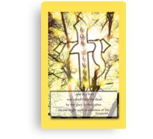 """Forgiven"" Cross of Jesus Yellow Canvas Print"