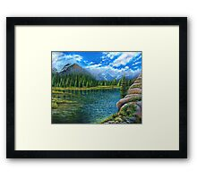 Acrylic painting, Lake and mountain landscape art Framed Print
