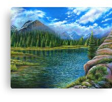 Acrylic painting, Lake and mountain landscape art Canvas Print