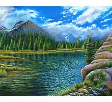 Acrylic painting, Lake and mountain landscape art Photographic Print