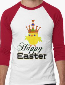 ㋡♥♫Happy Easter Blue Eyed Irish King Chicken Clothing & Stickers♪♥㋡ Men's Baseball ¾ T-Shirt