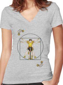 Vitruvian Cyclist Women's Fitted V-Neck T-Shirt