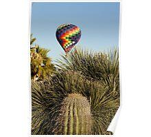 Hot Air Balloon Over Cactus  Poster