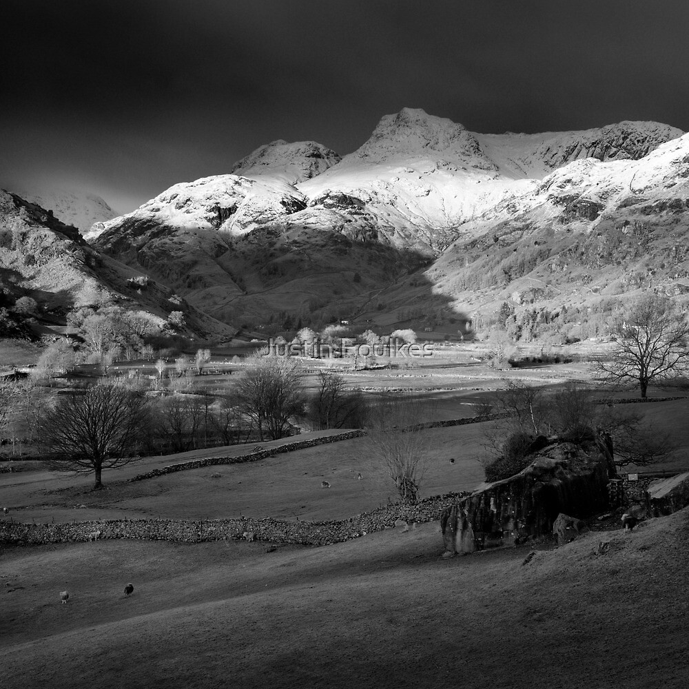 Winter sunrise, The Langdale Valley, Lake District. by Justin Foulkes