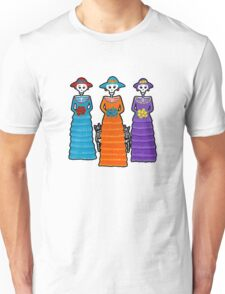 Three Catrinas and Skellie Cats Unisex T-Shirt