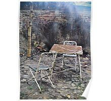 Vintage metal chairs in the backyard Poster