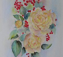 Yellow roses and redcurrants by Beatrice Cloake