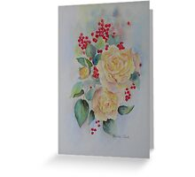 Yellow roses and redcurrants Greeting Card