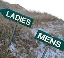 ladies sign above mens sign by morrbyte