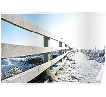 snow covered path on cliff edge fenced walk Poster
