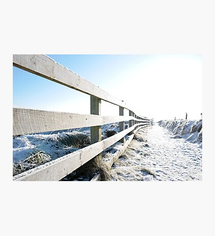 snow covered path on cliff edge fenced walk Photographic Print