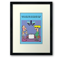 Pregnant Bind Date cartoon funny greetings card. Framed Print