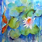 Waterlilies with fish by artbyrachel