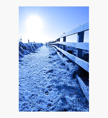 snow covered path on cliff fenced walk Photographic Print