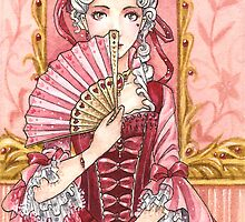 Marie Antoinette pink hearts card by meredithdillman