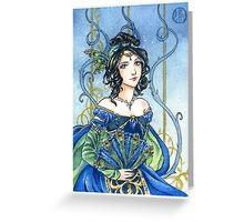 Sapphire Birthstone fairy tale princess card Greeting Card