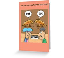 Funny LOL @ The Zoo cartoon greetings card. Greeting Card