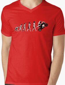 MOTORCYCLE EVOLUTION BIKE WHEELIE Mens V-Neck T-Shirt