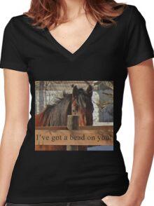 I've got a bead on you. Women's Fitted V-Neck T-Shirt