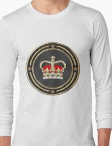 St Edward's Crown - British Royal Crown over White Leather  Long Sleeve T-Shirt