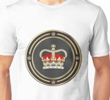 St Edward's Crown - British Royal Crown over White Leather  Unisex T-Shirt